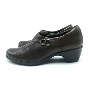 Clarks Brown Leather Slip-On Bootie, Size 8M, EUC
